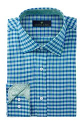 Bristol And Bull Long Sleeve Trim Fit Checkered Dress Shirt Green