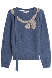 Marc Jacobs Distressed Embellished Wool Cashmere Pullover Blue