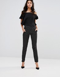 Paper Dolls Polka Dot Trouser Black With White Spo