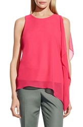 Women's Vince Camuto Sleeveless Top With Asymmetrical Chiffon Overlay Guava Fruit