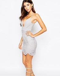 Love Triangle Plunge Front Mini Dress With Lace Skirt And Scalloped Hem Silver