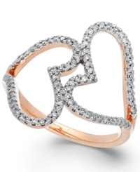 Macy's Diamond Double Heart Ring In 14K Rose Gold 1 3 Ct. T.W.