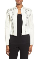Women's Elie Tahari 'Janet' Lace Up Crop Leather Jacket