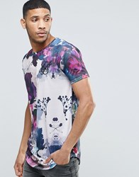 Sik Silk Siksilk Floral T Shirt With Curved Hem White