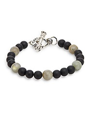 King Baby Studio Onyx Labradorite And Sterling Silver Beaded Bracelet Multi