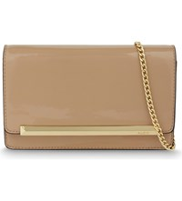 Aldo Afolia Faux Patent Leather Clutch Bone