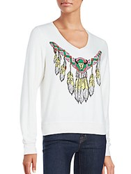 Wildfox Couture Route 66 Long Sleeve Graphic Top Vintage Lace