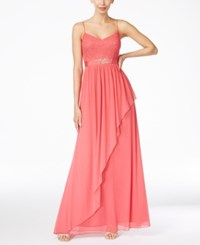 Adrianna Papell Spaghetti Strap Lace Gown French Coral