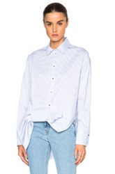 Victoria Victoria Beckham Asymmetric Bow Top In Blue White Stripes