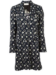 Wunderkind 'African Wax' Print Raw Coat Blue