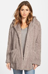 Women's Kenneth Cole New York 'Teddy Bear' Faux Fur Hooded Coat Natural