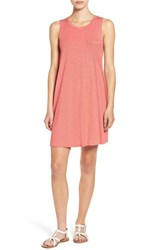 Soprano Women's Sleeveless Stripe Tank Dress Coral