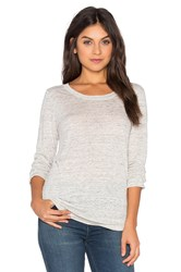 Linen Long Sleeve Tee On Heather White Gray