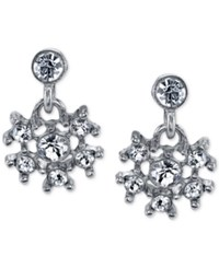 2028 Silver Tone Crystal Snowflake Drop Earrings