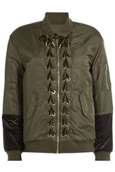 Sjyp Bomber Jacket With Velvet Lace Up Detail Green