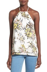 Leith Women's Layer Hem Halter Top Ivory Egret Botanical