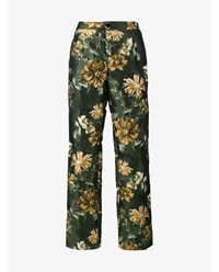For Restless Sleepers Floral Jacquard Trousers Green Multi Coloured White