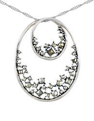 Lord And Taylor Marcasite Double Oval Pendant Necklace Silver