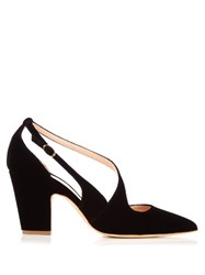 Rupert Sanderson Valet Point Toe Velvet Pumps Black