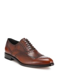 Salvatore Ferragamo Gerard Wingtip Brogue Calfskin Leather Dress Shoes Cuoio