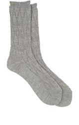 Antipast Men's Lace Patterned Mid Calf Socks Grey