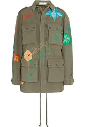 Faith Connexion Painted Glittered Cotton Canvas Parka Army Green