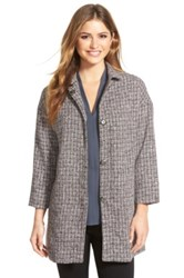 Gibson Plaid Snap Front Topper Petite Gray
