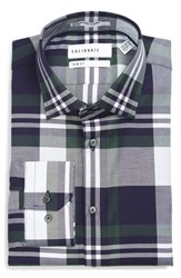 Calibrate Men's Big And Tall Trim Fit Non Iron Plaid Stretch Dress Shirt Green Sycamore