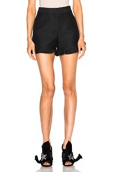 Fendi Light Wool Silk Gazar Ruffle Shorts In Black