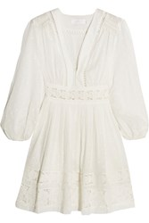 Zimmermann Realm Lace Trimmed Fil Coupe Cotton Voile Mini Dress White