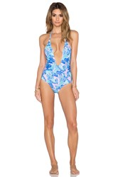 Motel Sunny Day Swimsuit Palm Glitch Blue