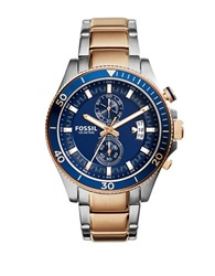 Fossil Mens Wakefield Two Tone Stainless Steel Bracelet Watch Rose Gold
