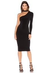 Nookie Girl Talk One Shoulder Midi Dress Black