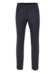 Ben Sherman Men's Blue With Burgundy Overcheck Trousers Blue