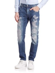 G Star Destroyed Straight Jeans Blue