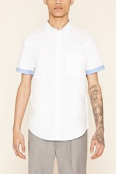 Forever 21 Contrast Cuff Oxford Shirt