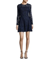 Design Lab Lord And Taylor Long Sleeved Fit Flared Lace Dress Blue Black