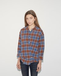 R 13 X Over Shirt Blue Plaid