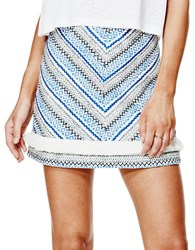 Guess Embroidered Chevron Mini Skirt Blue