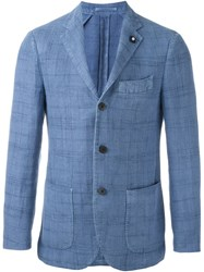 Lardini Notched Lapel Blazer Blue
