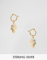 Asos Gold Plated Sterling Silver Hamsa Hand Hoop Earrings Gold Plated