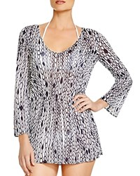 Milly Chain Print Tunic Swim Cover Up White Navy