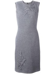 Ermanno Scervino Patched 'Leaves' Knit Dress Grey