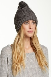 Free Press Chunky Knit Pom Slouchy Beanie Gray