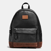 Coach Modern Varsity Campus Backpack In Pebble Leather Black Mahogany