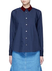 Sacai Guipure Lace Back Velvet Collar Shirt Blue