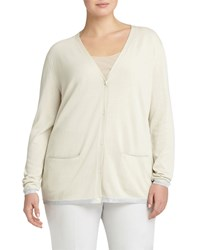 Lafayette 148 New York Plus Cotton Blend V Neck Cardigan Raffia