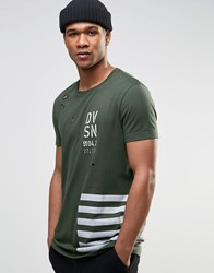 Asos Longline T Shirt With Military Print And Distressing Khaki Green
