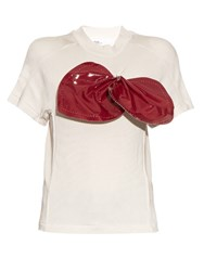 Toga Bow Embellished Short Sleeved Jersey Top White