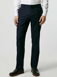 Topman Navy Textured Stretch Slim Fit Suit Trousers Blue